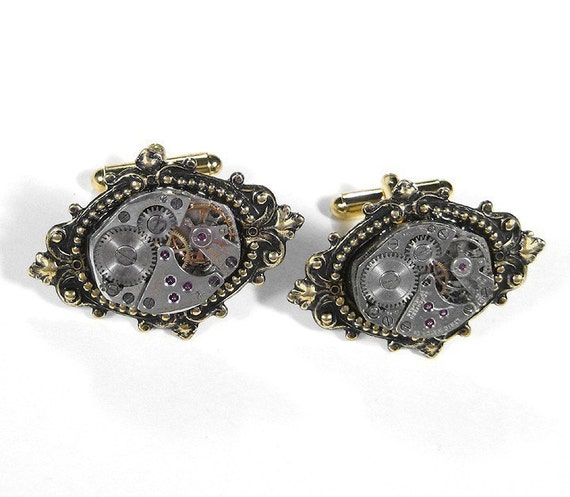 Mens Watch Cufflinks Watch Movement Mens Cuff Links Gold Renaissance Wedding Anniversary Groomsmen Fathers - Steampunk Jewelry by edmdesigns