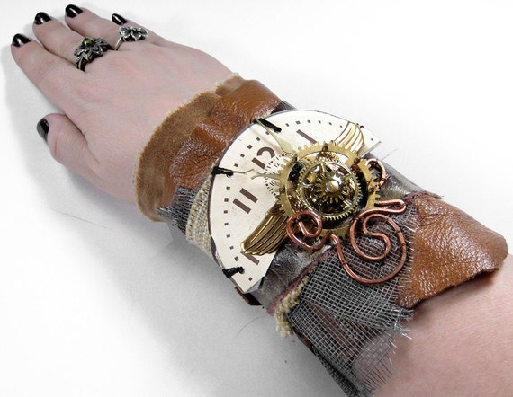 Steampunk Cuff - BROWN LEATHER and BEIGE VELVET ARMBAND Wrist Cuff - Brass MILITARY WINGS - Clock Dial - Antique Clock Gears - AWESOME Adjustable UNISEX PIECE - Exclusive WEARABLE ART by edmdesigns and 1/2 Street Studios