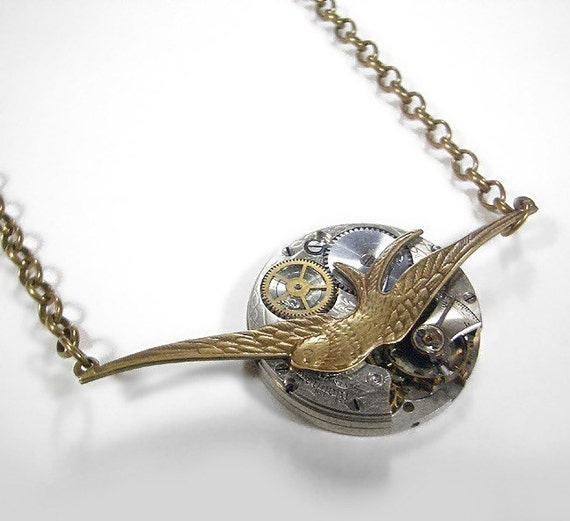Steampunk Necklace - Vintage Pocket Watch Movement Bird Pendant Necklace - Swallow Sojourn....GORGEOUS...Offered by edmdesigns