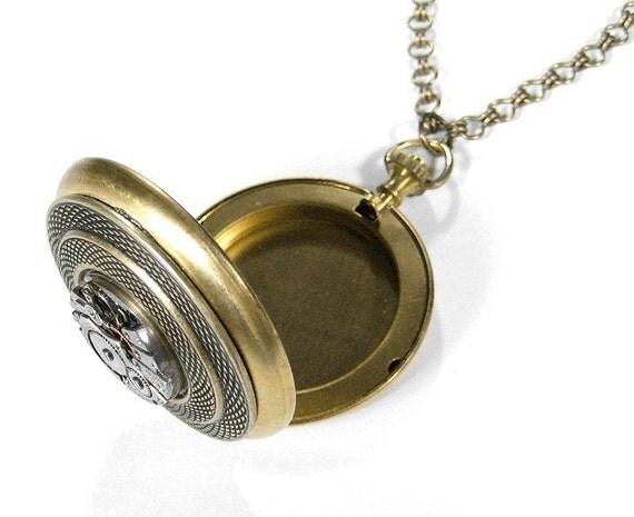 Steampunk Jewelry Locket Necklace Pocket Watch Snake Skin Setting Jewel Watch Fiancee, Mens Women, Mother's Day Gift - Jewelry by edmdesigns