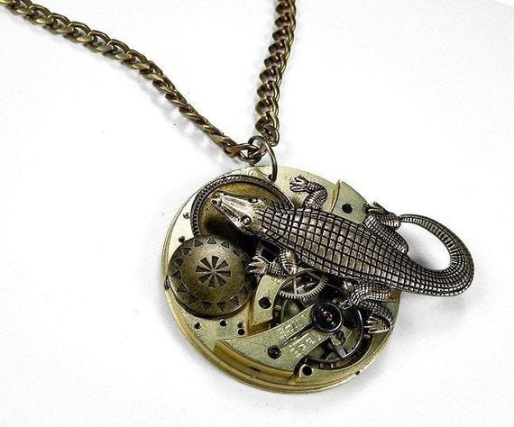 Steampunk Jewelry Necklace Vintage Pocket Watch ALLIGATOR Victorian Button Wedding Anniversary Steam Punk - Steampunk Jewelry by edmdesigns
