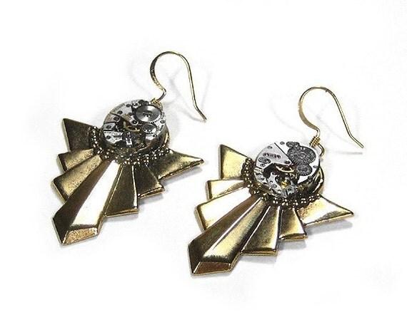 Steampunk Jewelry Earrings Watch Movement Dangle GOLD Art Deco Steam Punk Earrings Wedding Anniversary Mothers Bride - Jewelry by edmdesigns