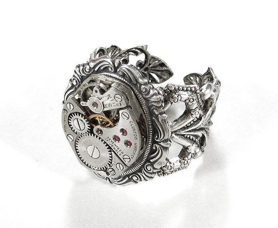 Steampunk Jewelry Ring Vintage ORNATE Silver Filigree Ring Watch Movement Men Womens Silver Ring Adjustable GORGEOUS - Jewelry by edmdesigns