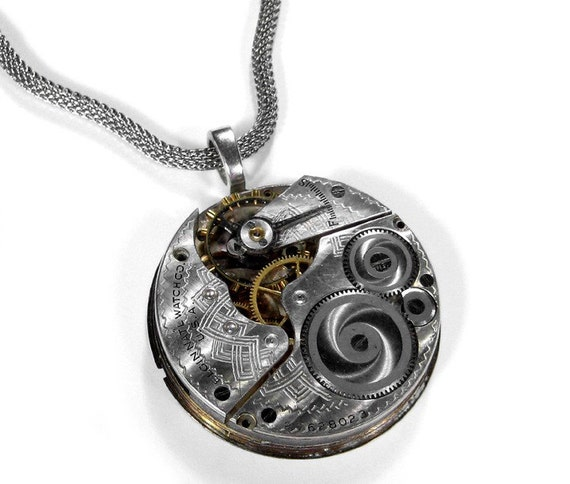 Steampunk Jewelry Necklace Vintage 1888 ELGIN Pocket Watch, Etchings Anniversary Wedding Holiday Gift For Men Women - Jewelry by edmdesigns