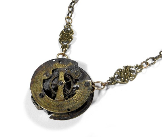 Steampunk Necklace - Antique GOLD GRUNGE Pocket Watch Movement Pendant Necklace - INCREDIBLY UNIQUE FOCAL - ONLY ONE...YOU JUST HAVE TO SEE THIS -  Another ORIGINAL STATEMENT PIECE - Exclusively by edmdesigns
