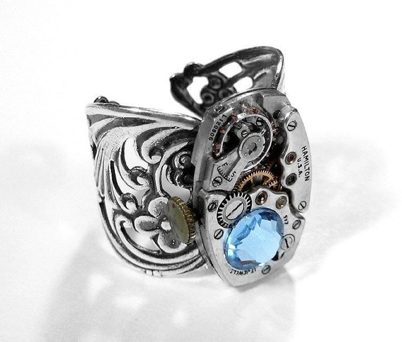 Steampunk Jewelry Womens Ring ART DECO Watch Aqua Crystal Filigree Silver Band Wedding Mom Mothers Day Gift STUNNING - Jewelry by edmdesigns