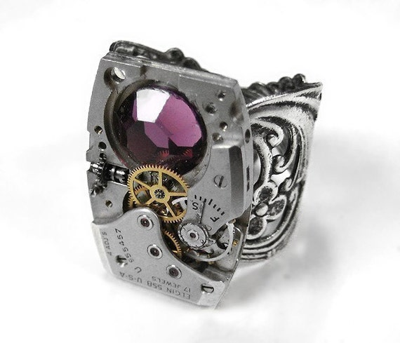 Steampunk Jewelry, Mens Steampunk Ring ELGIN Watch Amethyst Birthstone Ring Anniversary Mothers Men Women Choose Your Stone - by edmdesigns