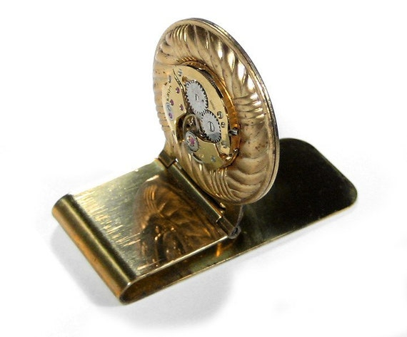 Ruby Wedding Gifts For Men: Steampunk Mens Money Clip Vintage Gold Ruby Jeweled Watch