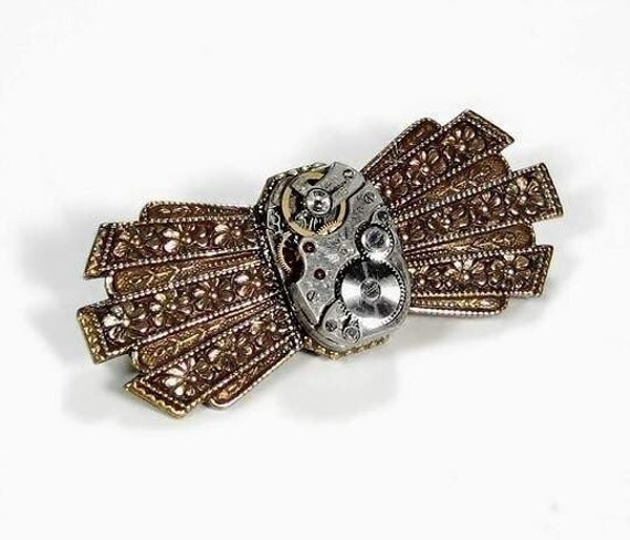 Steampunk Jewelry Brooch Pin Vintage Watch Ornate ART DECO Style Jeweled Pin Wedding Anniversary Mothers - Steampunk Jewelry by edmdesigns