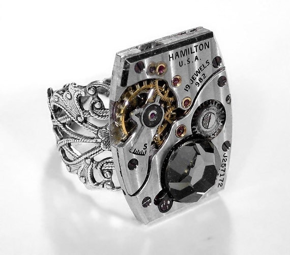 Steampunk Jewelry Mens Ring Hamilton Pinstripe Watch Featured JEWELRY ARTIST MAG Mens Womens Valentine Gift For Men - Jewelry by edmdesigns