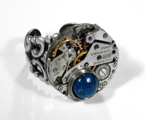 Steampunk Jewelry Ring Vintage Jeweled Watch Blue LAPIS Gem Wedding Anniversary Womens or Mens Holiday Gift GORGEOUS - Jewelry by edmdesigns