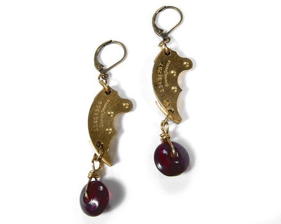 Steampunk Earrings Vintage Golden Watch Part January Birthstone GARNET Wedding Anniversary Mom Bridal Bridesmaid Gift- Jewelry by edmdesigns