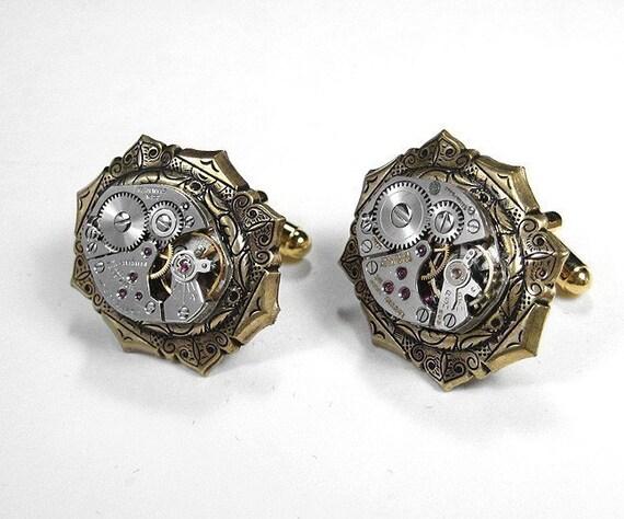 Steampunk Mens Cufflinks Vintage Jewel Watch Cuff Links SOLDERED Wedding Anniversary Groomsmen Fathers Day - Steampunk Jewelry by edmdesigns