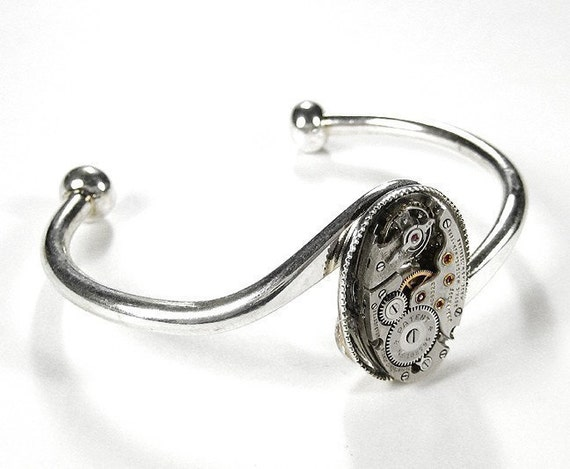 Steampunk Jewelry Cuff Vintage OVAL Bracelet Art Deco Watch Featured in WOLFRAM Magazine Wedding Mothers Day Gift - Jewelry by edmdesigns