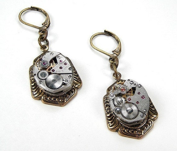 Steampunk Jewelry Earrings Vintage PETITE Jeweled Watch Movement Earrings STUNNING  Wedding Anniversary - Steampunk Jewelry by edmdesigns