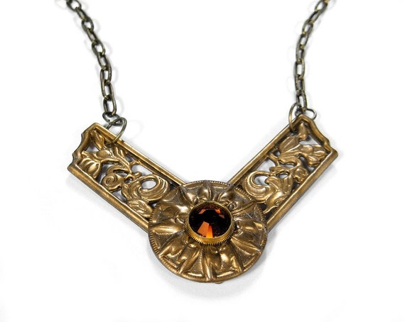 Steampunk Jewelry Necklace Ornate Chevron FLORAL Design Vintage Brass Gear TOPAZ Crystal Anniversary Mother's Day - Steampunk by edmdesigns