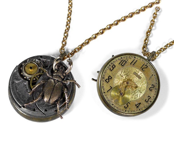 Steampunk Necklace Antique Elgin Pocket Watch BEETLE Vintage Reversible Necklace ABSOLUTELY STUNNING - Steampunk Jewelry by edmdesigns