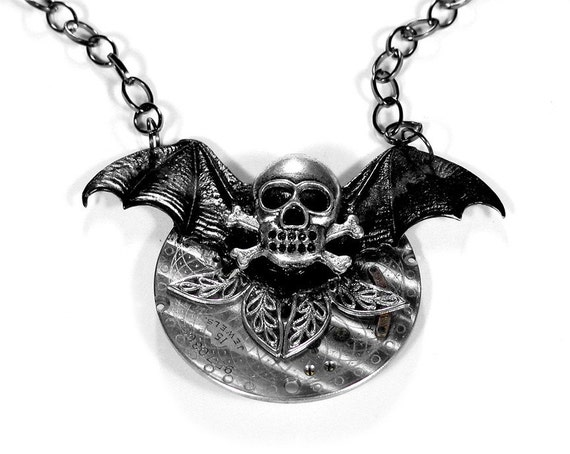 Steampunk Jewelry Necklace Etched Pocket Watch Black BAT WINGS Skull Bones HALLOWEEN Gothic Costume Black Wings - Steampunk by edmdesigns