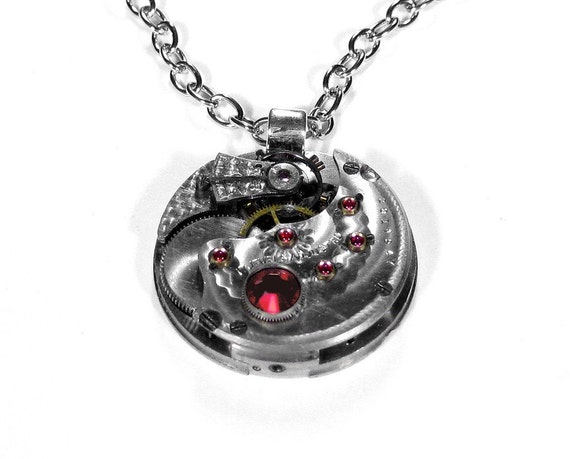 Steampunk Necklace - Vintage Antique Silver Pocket Watch Pendant Necklace - Stunning Timepiece with Guilloche Etched Patterns and BRILLIANT RED RUBIES - Beautiful Contours and Swarovski Crystal - Awesome Gift Idea - Exclusively by edmdesigns