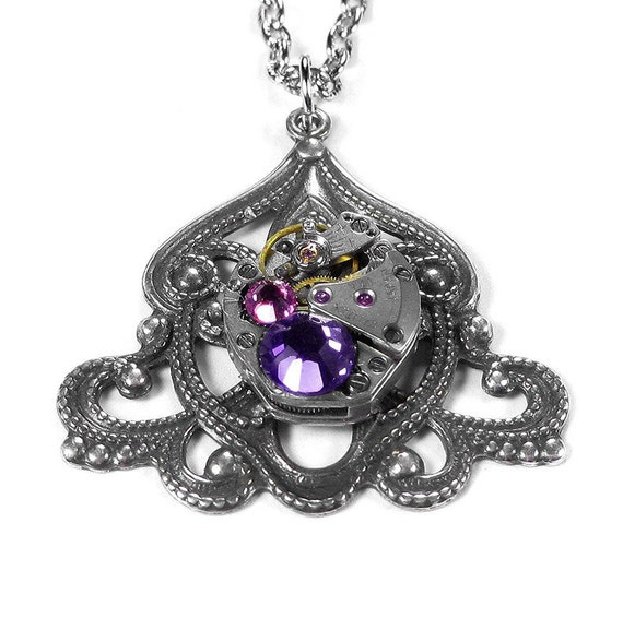 Is Steampunk Jewelry A Craft Or An Art: Steampunk Jewelry Necklace Vintage Watch ART NOUVEAU Silver
