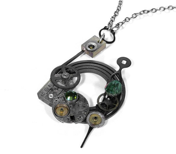 Steampunk Necklace - Exceptionally Cool Industrial Spring Pendant Necklace with Clock Parts Watch Dial Olive Glass Scarab and More - TOTALLY UNIQUE DESIGN - EXCLUSIVE Offering by edmdesigns