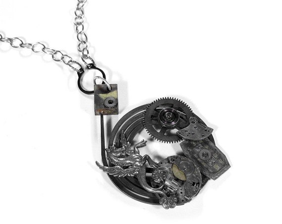 Steampunk Jewelry Necklace Mens Industrial Nihilist Clock Part Watch Dial Gryphon Dragon Gears GREAT GIFT! - Steampunk Jewelry by edmdesigns