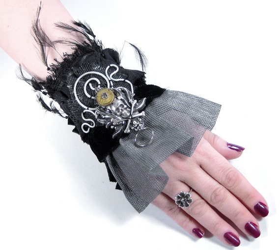 Steampunk Cuff SALE ------------ Wrist Cuff  Black LEATHeR Feathers MESH Silver Plaque Skull Coils More - Steampunk Clothing by edmdesigns