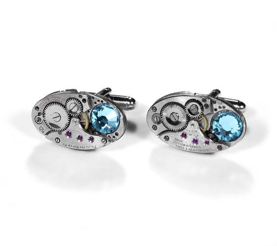 Steampunk Cufflinks Vintage Jewel Watch Cuff Links Aqua Crystals GORGEOUS Wedding Anniversary Gift - Steampunk Jewelry by edmdesigns