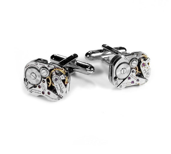 Steampunk Cufflinks Vintage Jeweled Watch Mens Cuff Links STUNNING WEDDING Anniversary I Love You Gift - Steampunk Jewelry by edmdesigns