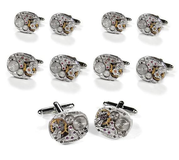 Steampunk Cufflinks Mens Cufflinks Wedding Set 5 Pairs Vintage HAMiLTON Ruby Jeweled Watch Cuff Links GROOMSMEN Gift - Jewelry by edmdesigns