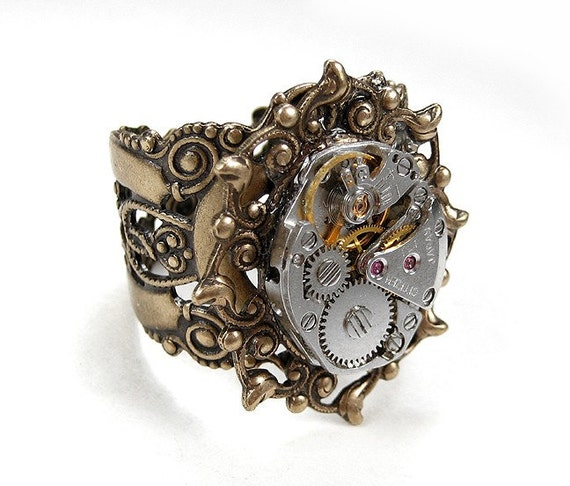 Steampunk Vintage BRASS Ornate BEZEL SET 17 Jeweled Watch Movement on Adjustable Filigree Ring - STUNNING UNIQUE DESIGN