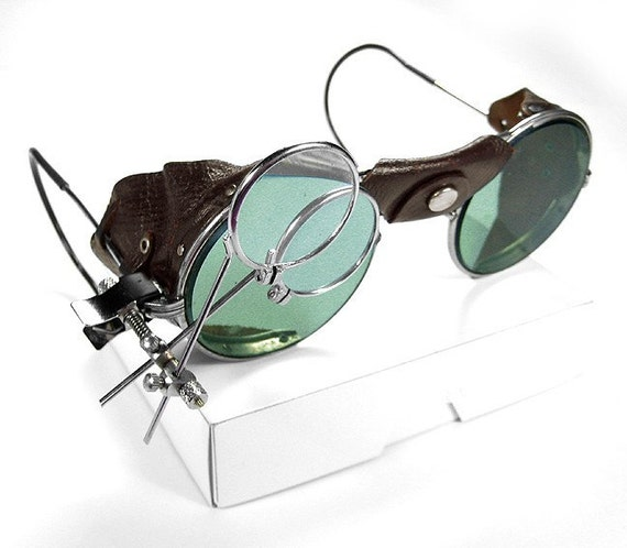 Vintage AMERICAN OPTICAL Steampunk Goggles Glasses with TINTED GLASS and LEATHER SIDE SHIELDS with 2 MAGNIFIER LOUPES - INCREDIBLE LOOKING GOGGLES - Comes with Vintage METAL CASE - edmdesigns Special Offer