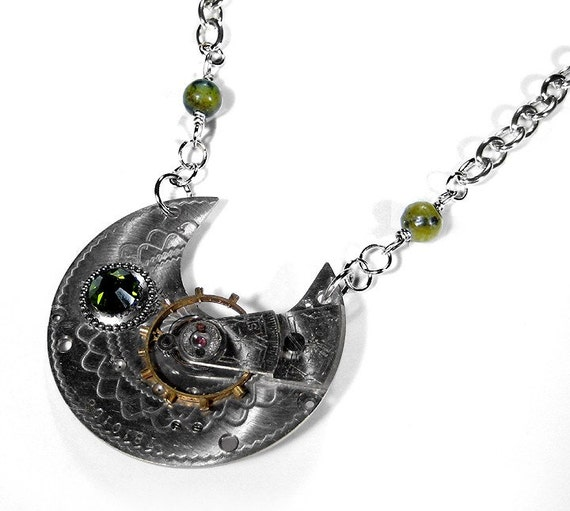 Steampunk Necklace - Vintage GUILLOCHE ORNATELY ETCHED STERLING SILVER PLATED Pocket Watch Necklace with LARGE FREELY SPINNING GEAR and  STUNNING OLIVE SWAROVSKI CRYSTAL Plus Olive Jasper Marble Beads - Offered by edmdesigns