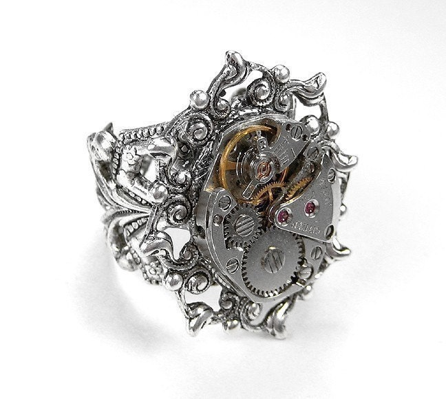 zoom - Steampunk Wedding Rings