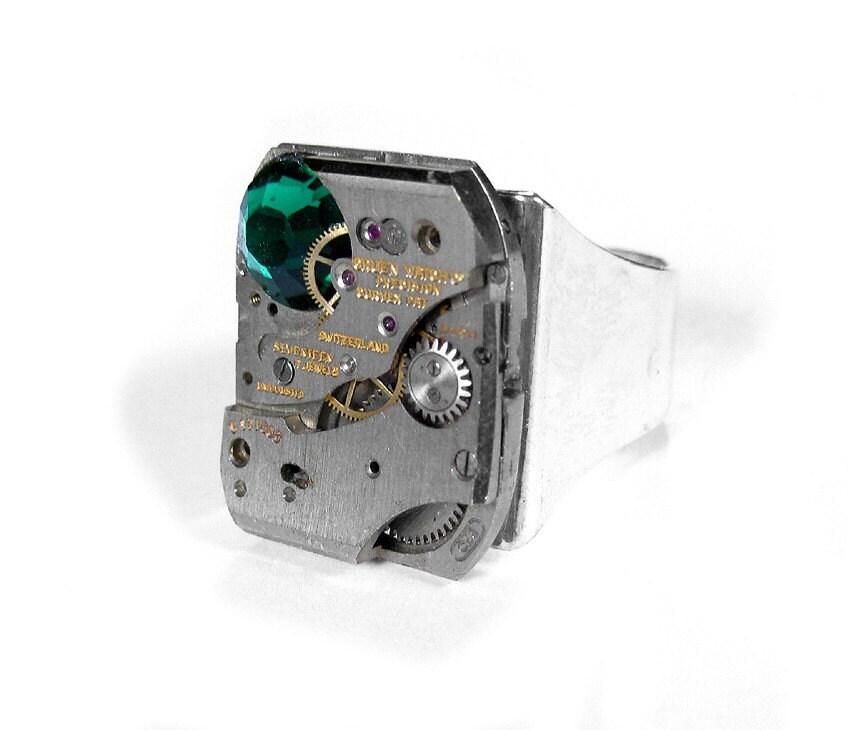 steampunk ring vintage gruen jeweled watch mechanism. Black Bedroom Furniture Sets. Home Design Ideas