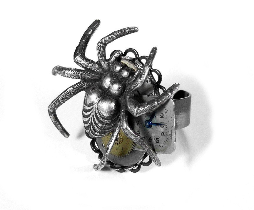 steunk jewelry ring silver spider ring gears