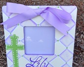 Painted Baptism/Christening/Confirmation Boy's  Picture Photo Frame Choose Colors