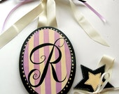 Custom Painted Boutique Initial Hair Bow Holder Choose Colors