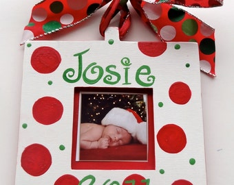 Christmas Holiday Personalized Ornaments Square or Round Custom Painted