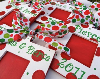 Christmas Holiday Photo Personalized Ornaments Square or Round Custom Painted