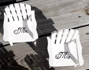 The ORIGINAL Set of 2 Cake Topper Wedding or  Decor Mini Adirondack Chair  Beach Lake Rustic  Personalized  Any Color