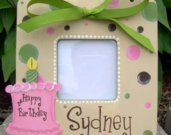 Polka Dot Boutique Custom Painted Birthday Picture Frame Choose Colors