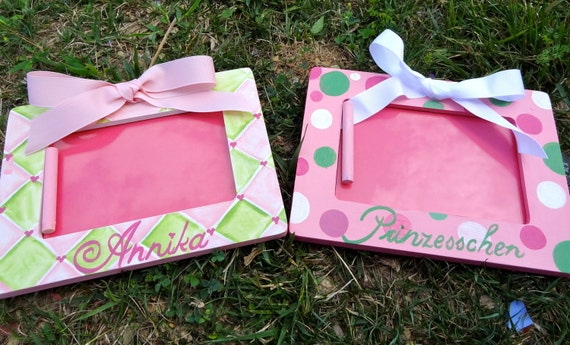 Picture Frames, Girls room decor, Custom Design Boutique Photo Frames set of 2  Personalization included