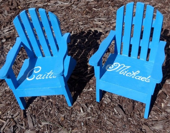 TM The Original Personalized Set of 2 Cake Topper Mini Adirondack Chair Decor Beach Lake Rustic Wedding Personalized  Any Color