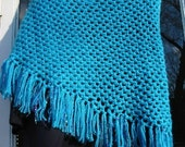 HandmadeTurquoise Triangle Crochet Shawl