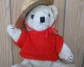 SALE-Handknit Red Teddy Bear Sweater with Straw Hat