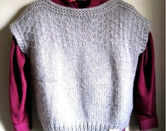 Gray Beaded Vest with Crystal Beads