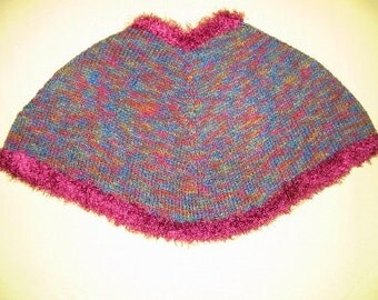 Child Poncho Handknit in Varigated Blue and Burgandy