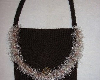 Brown Crocheted Pocketbook with Eyelash Trim