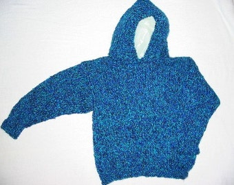 Hand Knit Child Blue Hooded Pullover